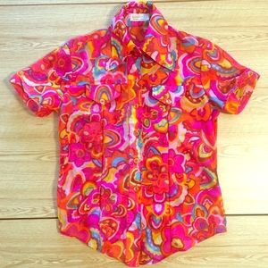 Vintage 60's Sheer Disco Collar Button up Shirt